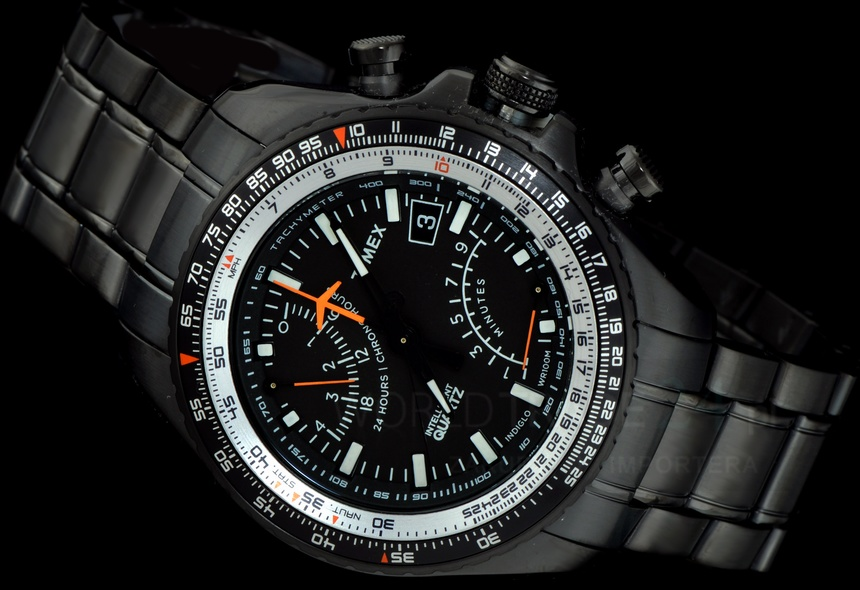 f1fcce3ac This men's Timex Intelligent Quartz Aviator Fly-back watch is made from  black ion-plated steel and is fitted with a chronograph quartz movement.